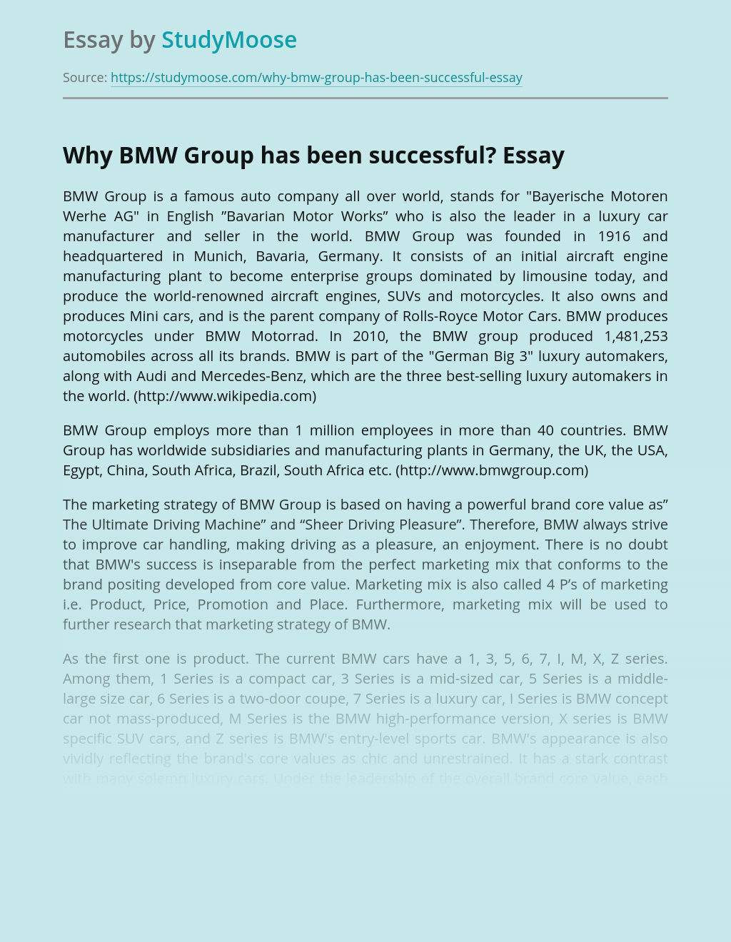 Why BMW Group has been successful?