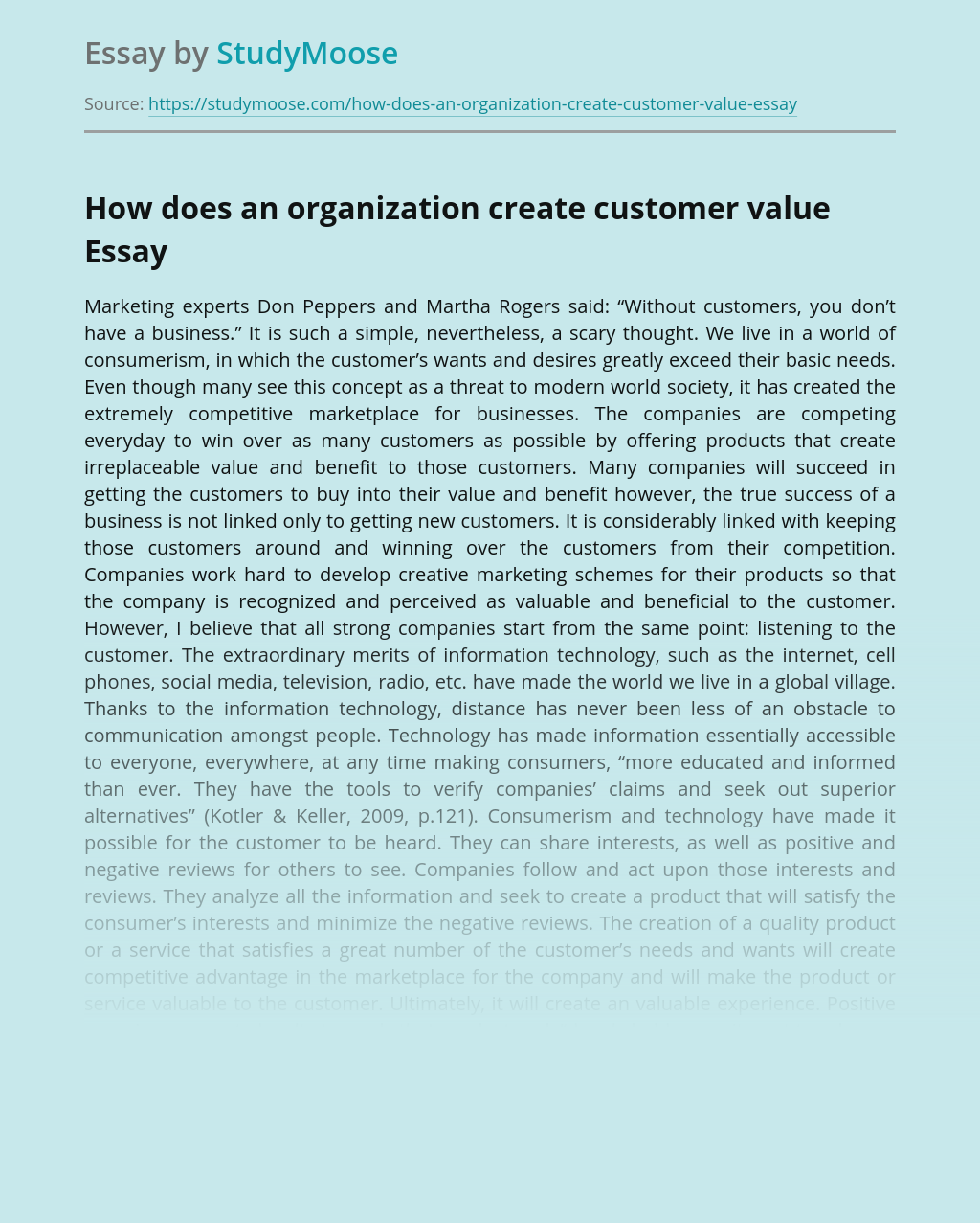 How does an organization create customer value