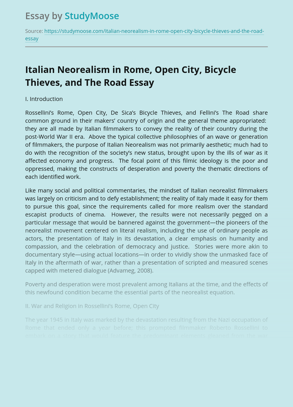 Italian Neorealism in Rome, Open City, Bicycle Thieves, and The Road