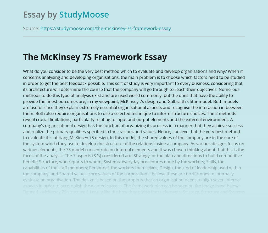 The McKinsey 7S Organization Development