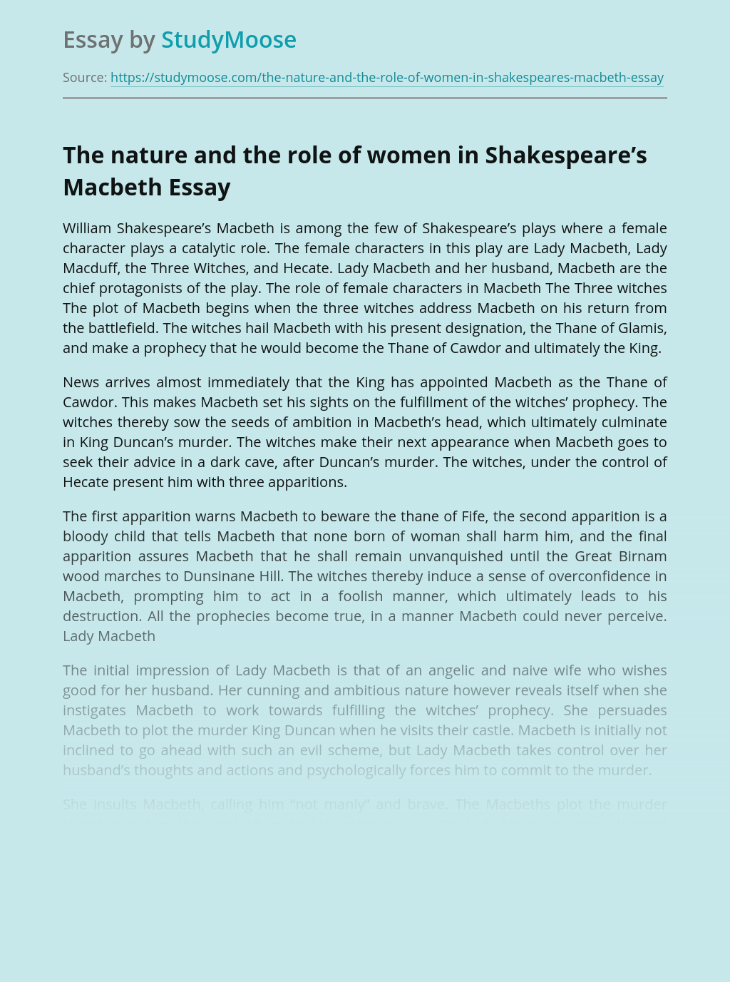 The nature and the role of women in Shakespeare's Macbeth