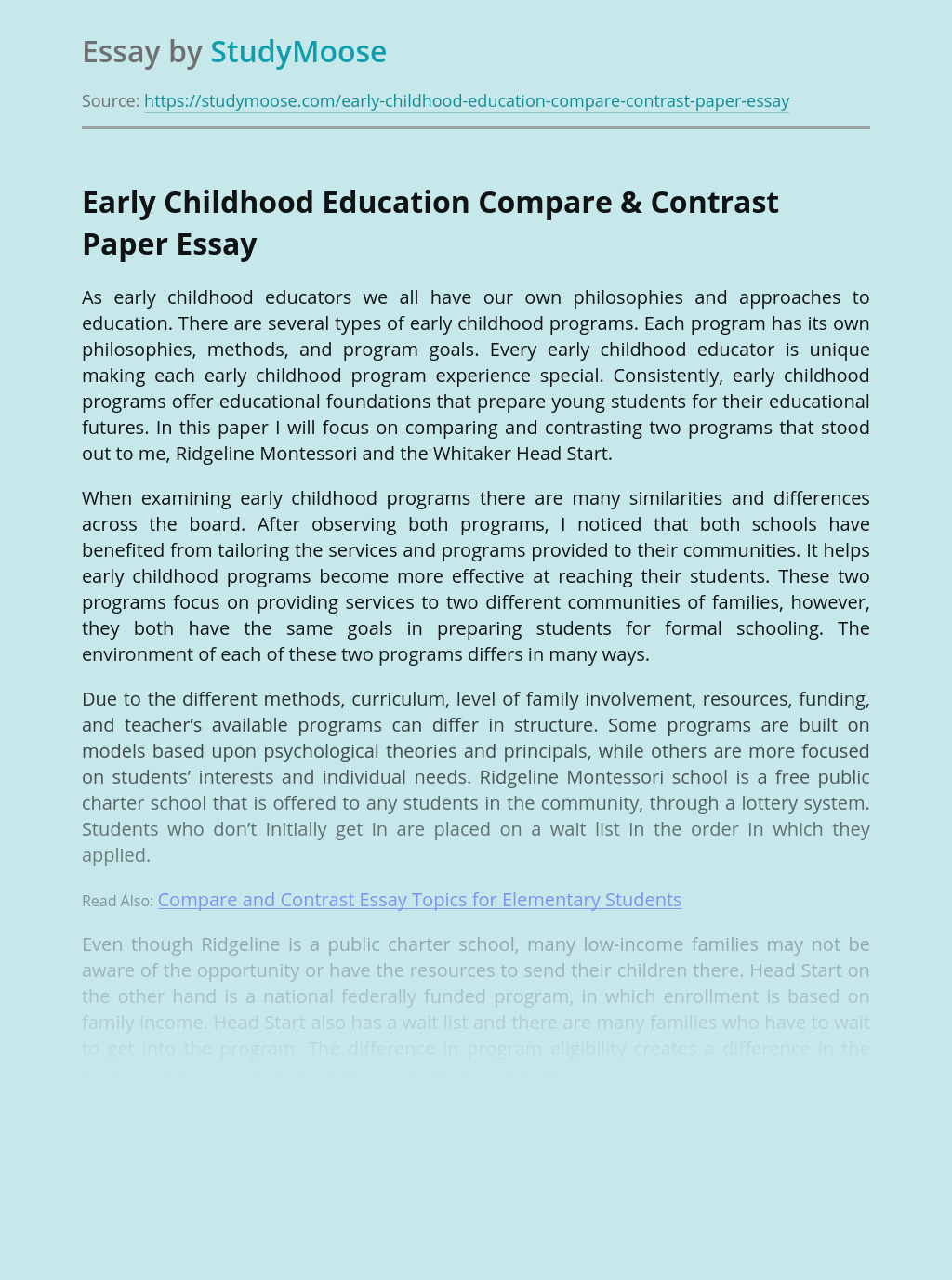 Early Childhood Education Compare & Contrast Paper