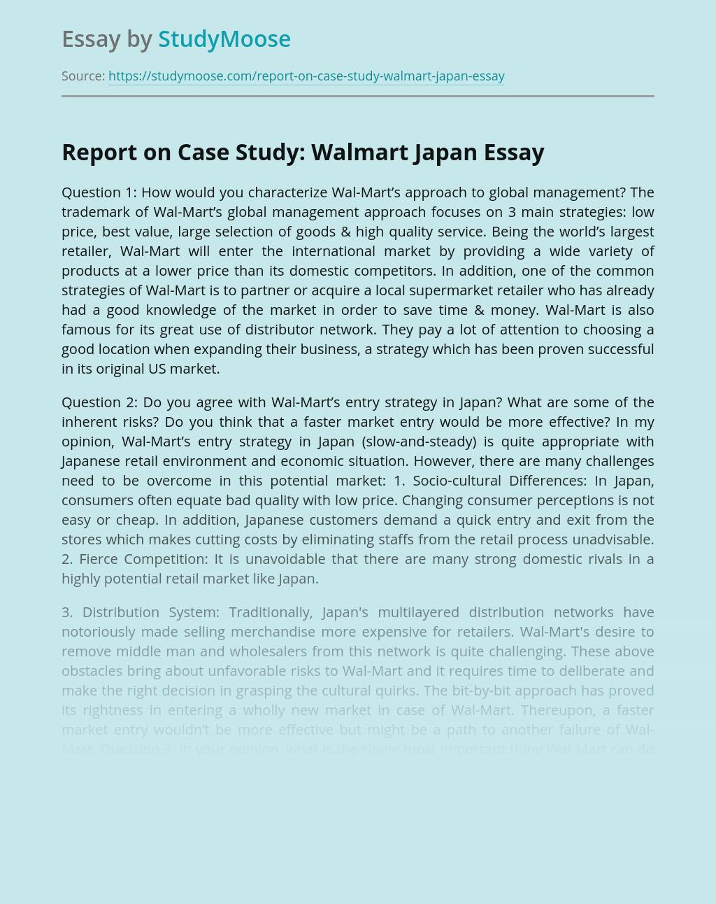 Report on Case Study: Walmart Japan