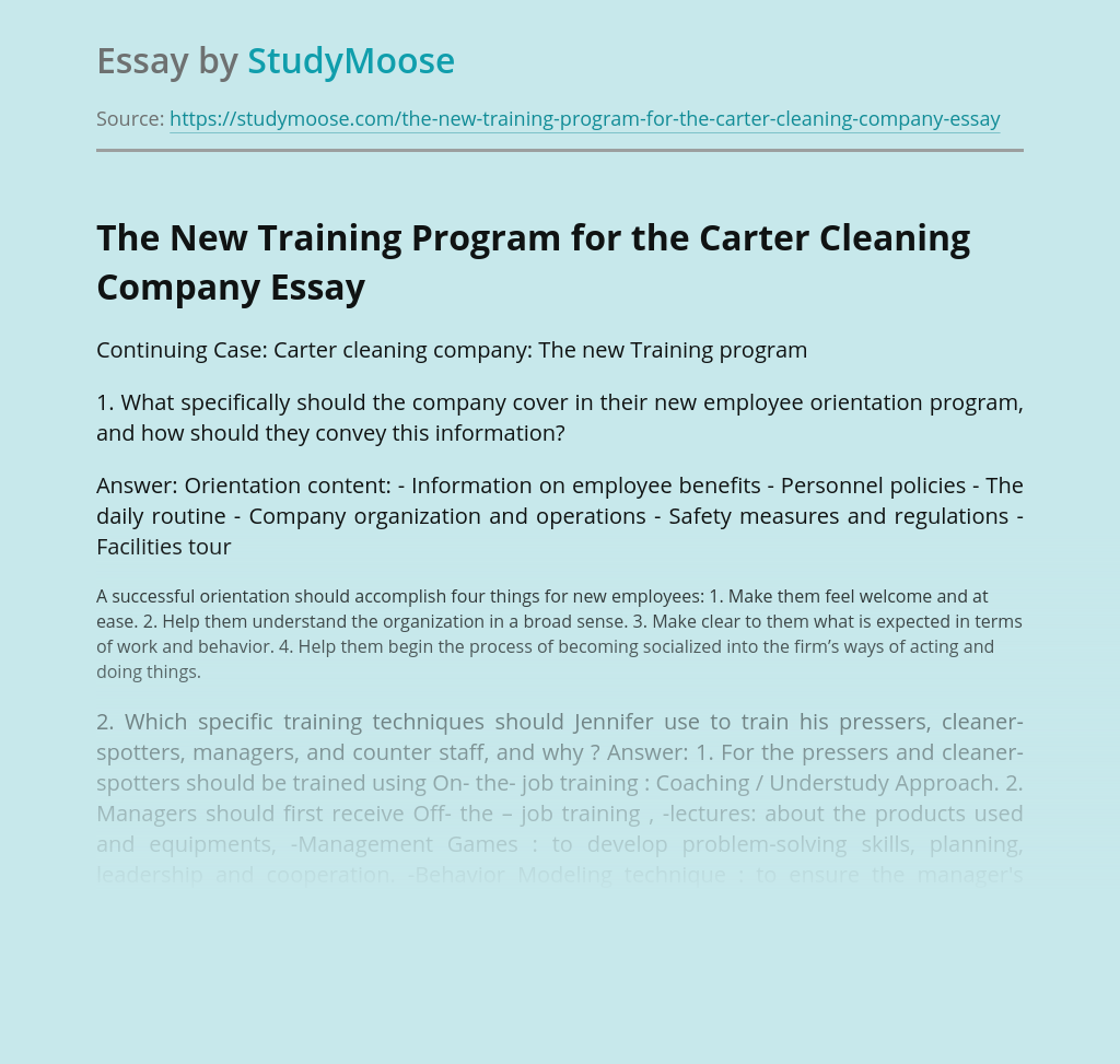 The New Training Program for the Carter Cleaning Company