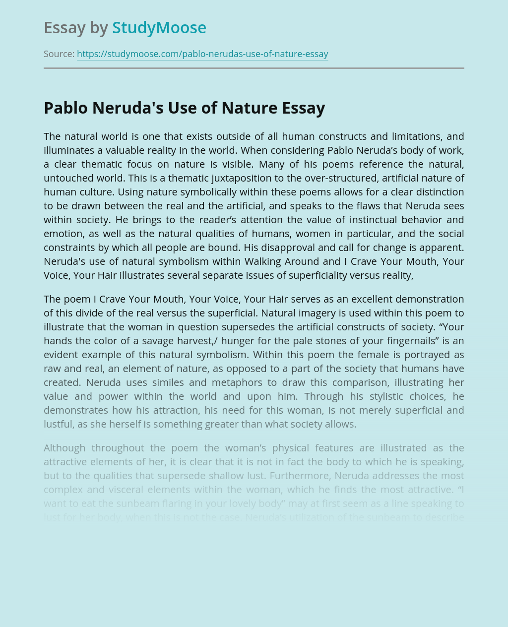 Pablo Neruda's Use of Nature