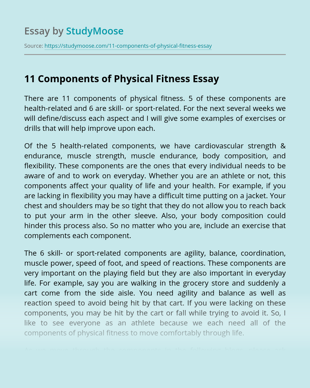 11 Components of Physical Fitness