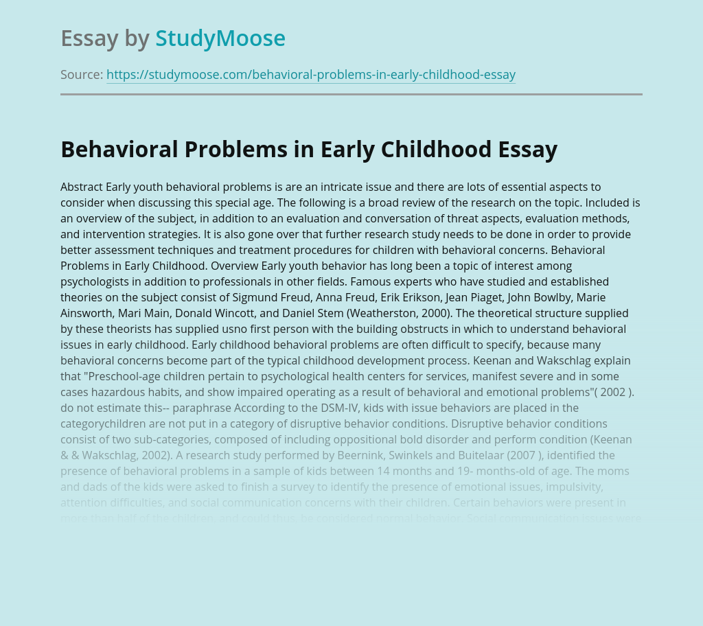 Behavioral Problems in Early Childhood