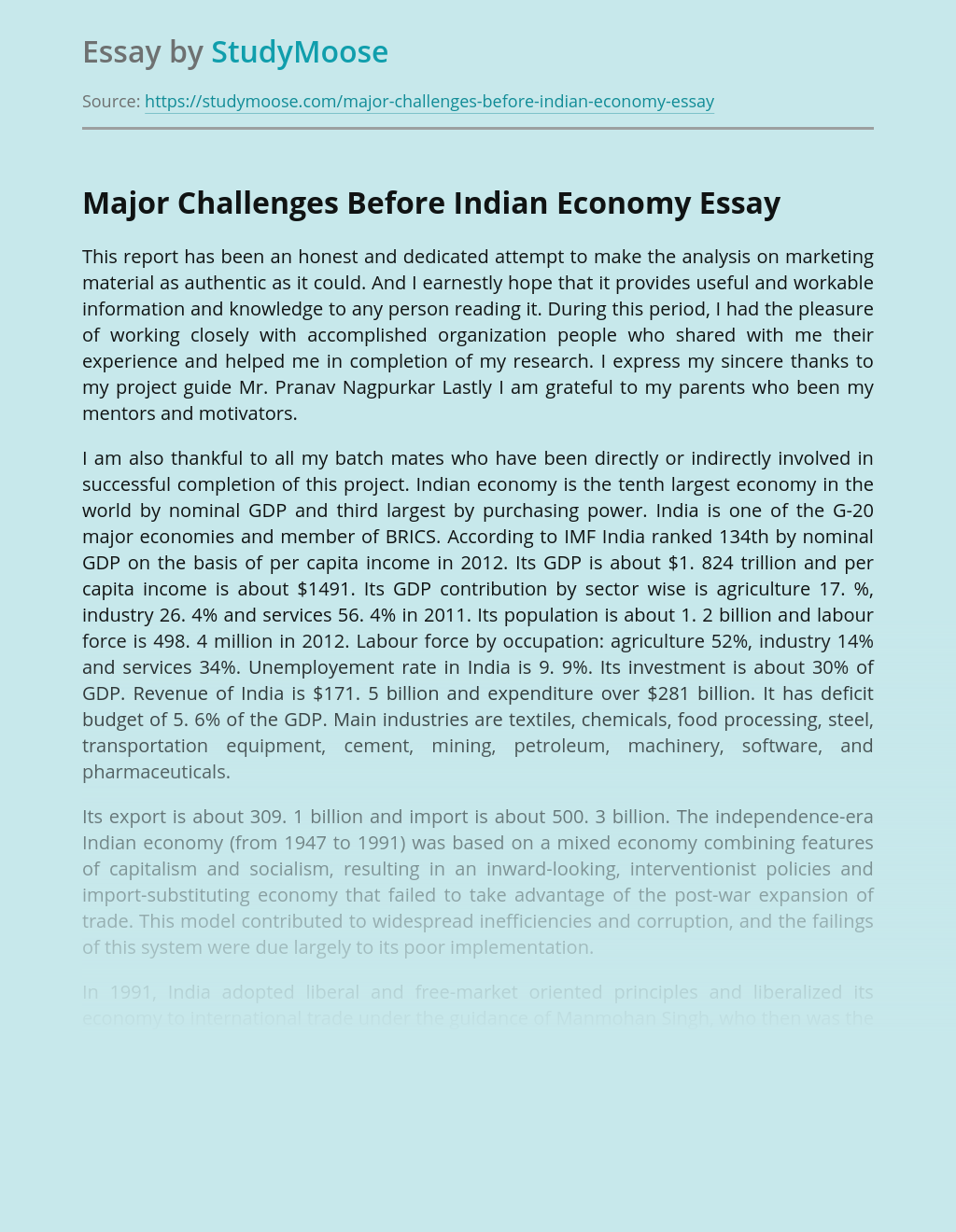 Major Challenges Before Indian Economy