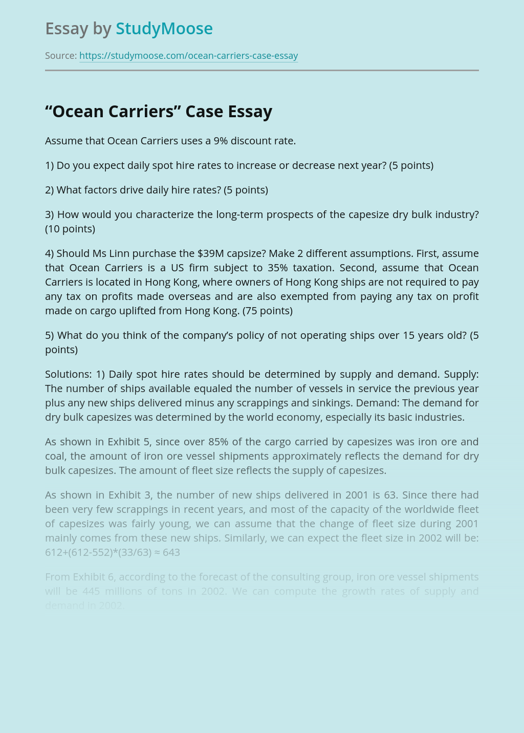 """Ocean Carriers"" Case"