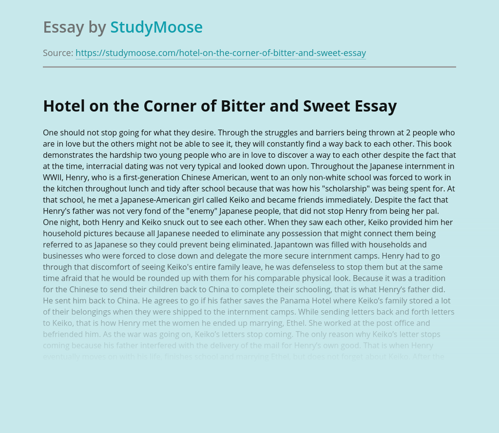 """Hotel on the Corner of Bitter and Sweet"" by Jamie Ford"