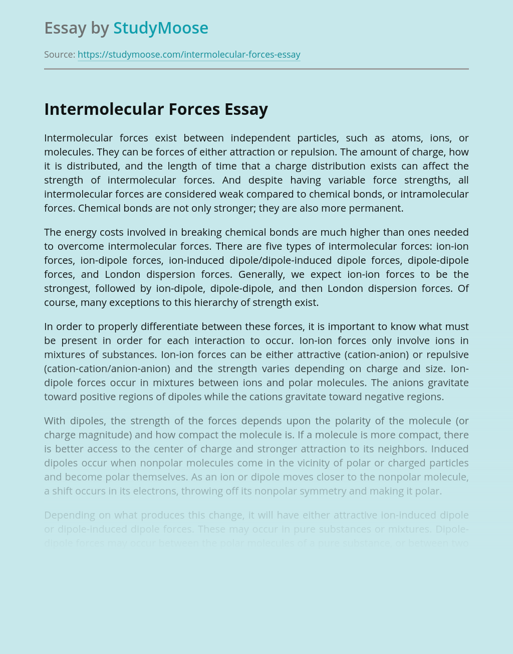 Intermolecular Forces Report for Science Class