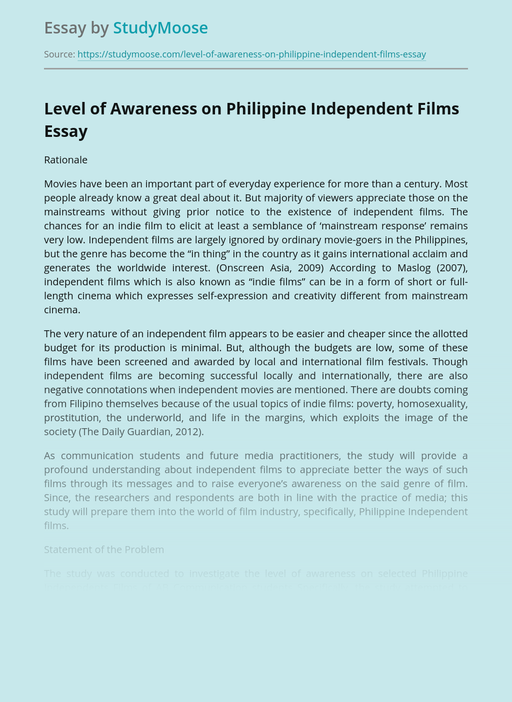 Level of Awareness on Philippine Independent Films