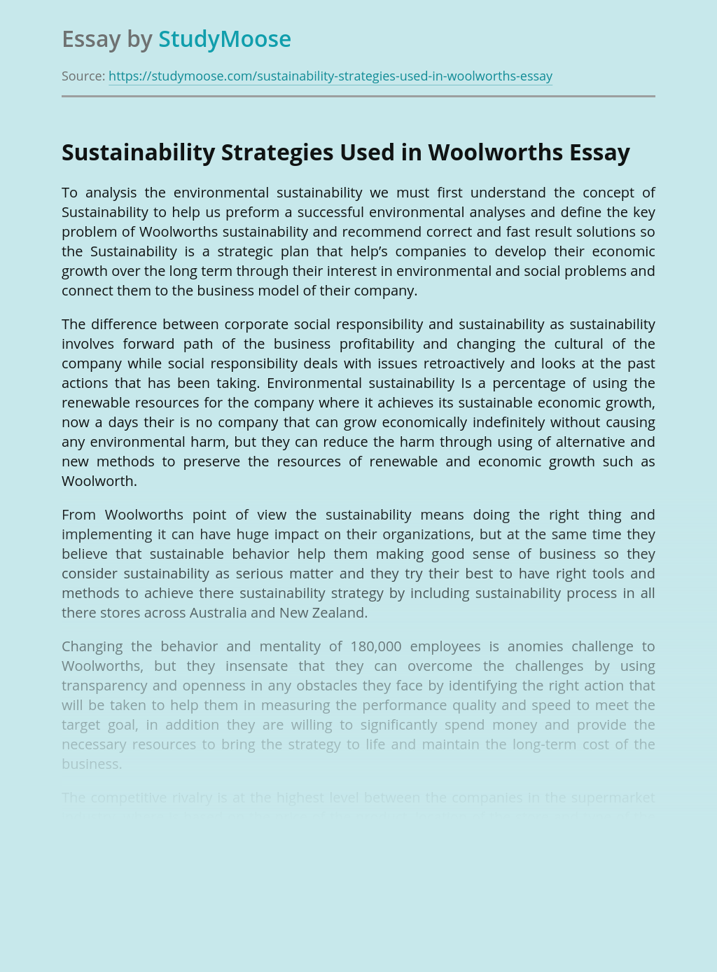 Sustainability Strategies Used in Woolworths