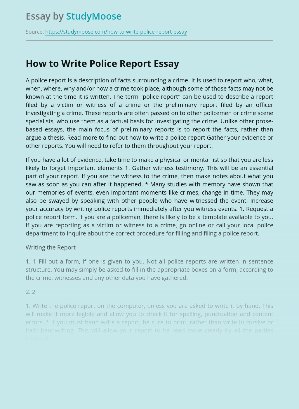 How to Write Police Report