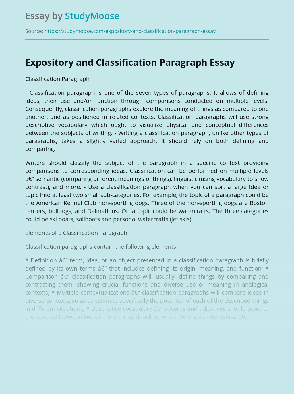 Expository and Classification Paragraph
