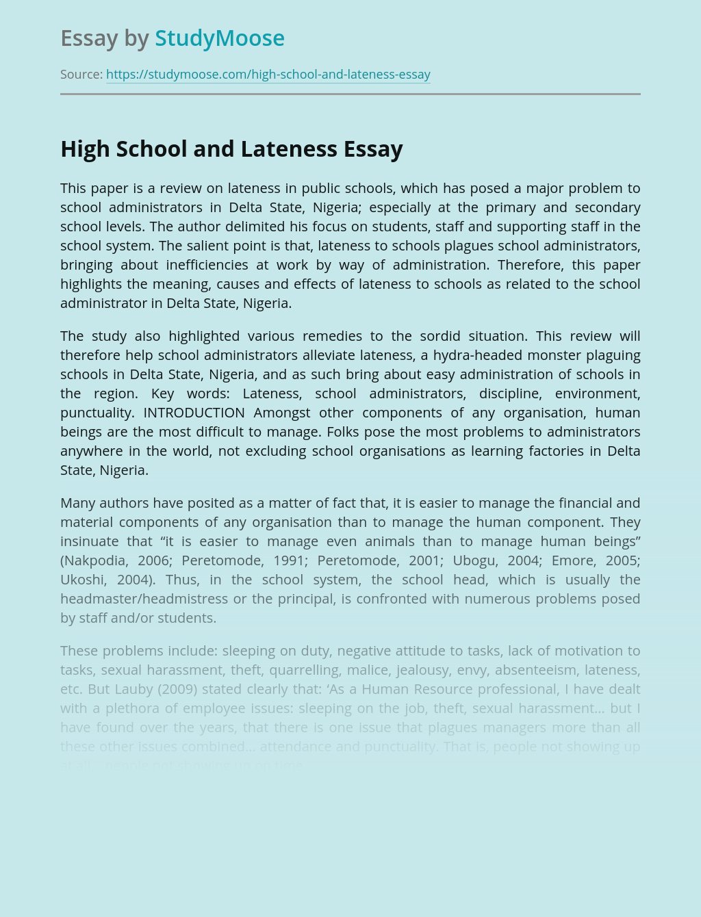High School and Lateness