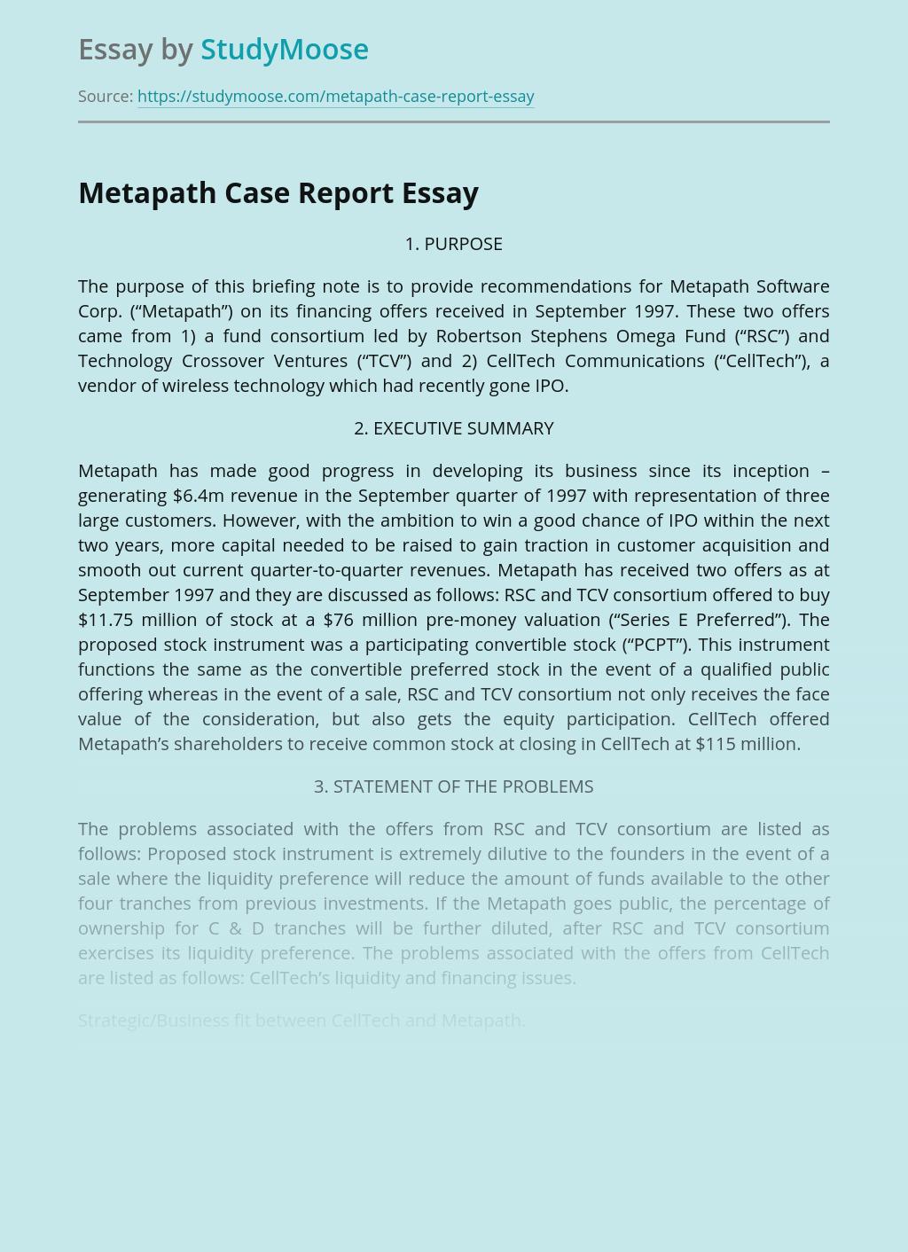 Metapath Case Report