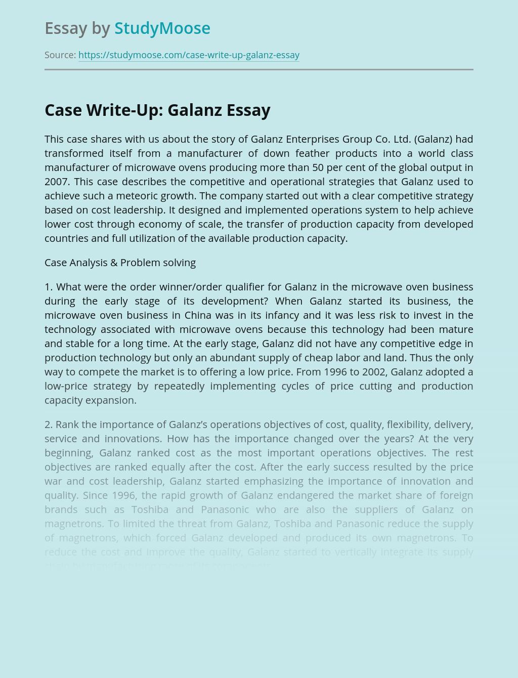 Case Write-Up: Galanz