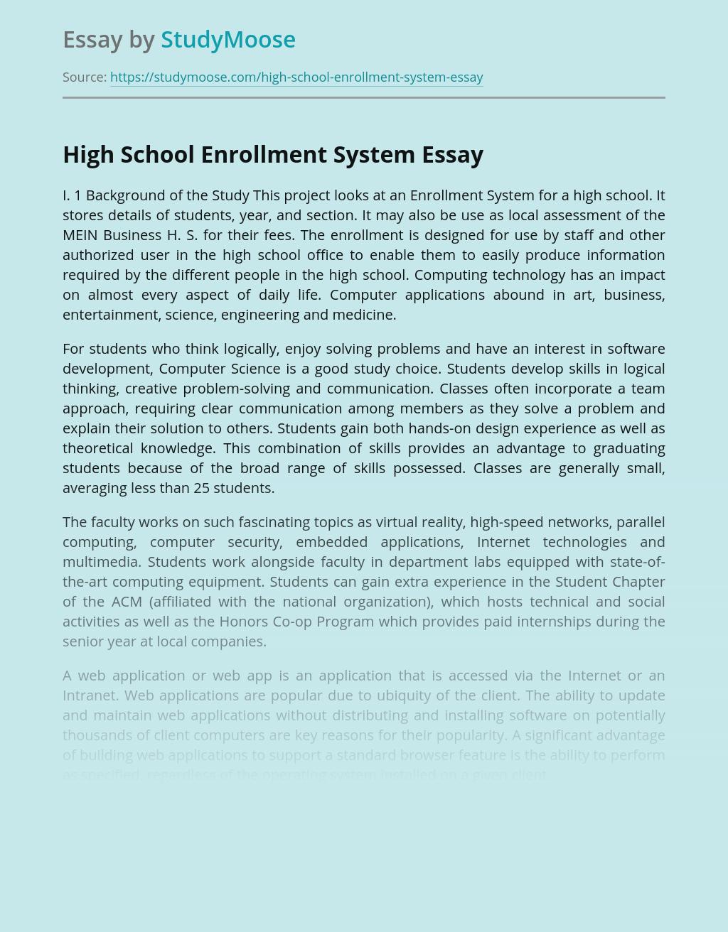 High School Enrollment System