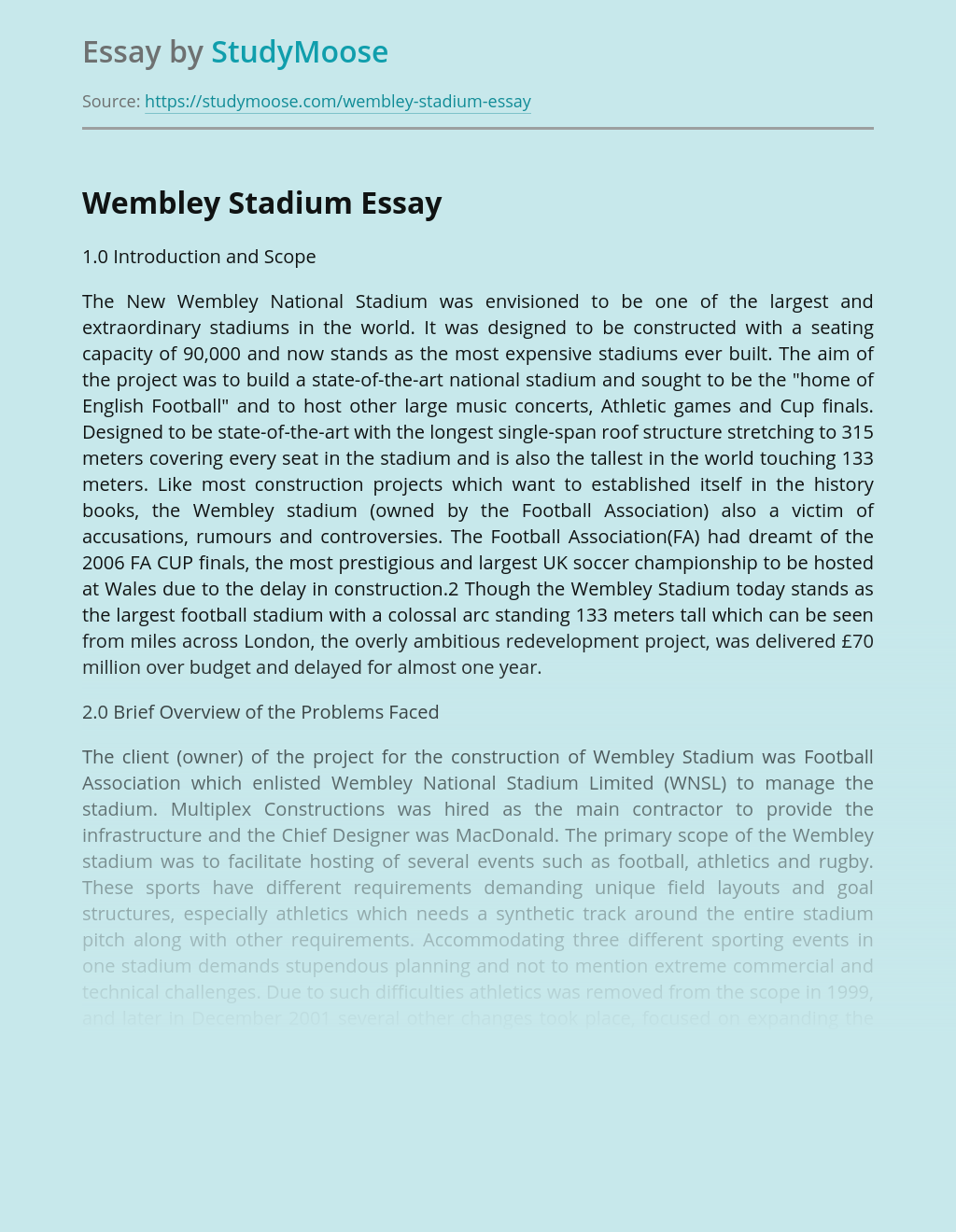 The New Wembley National Stadium