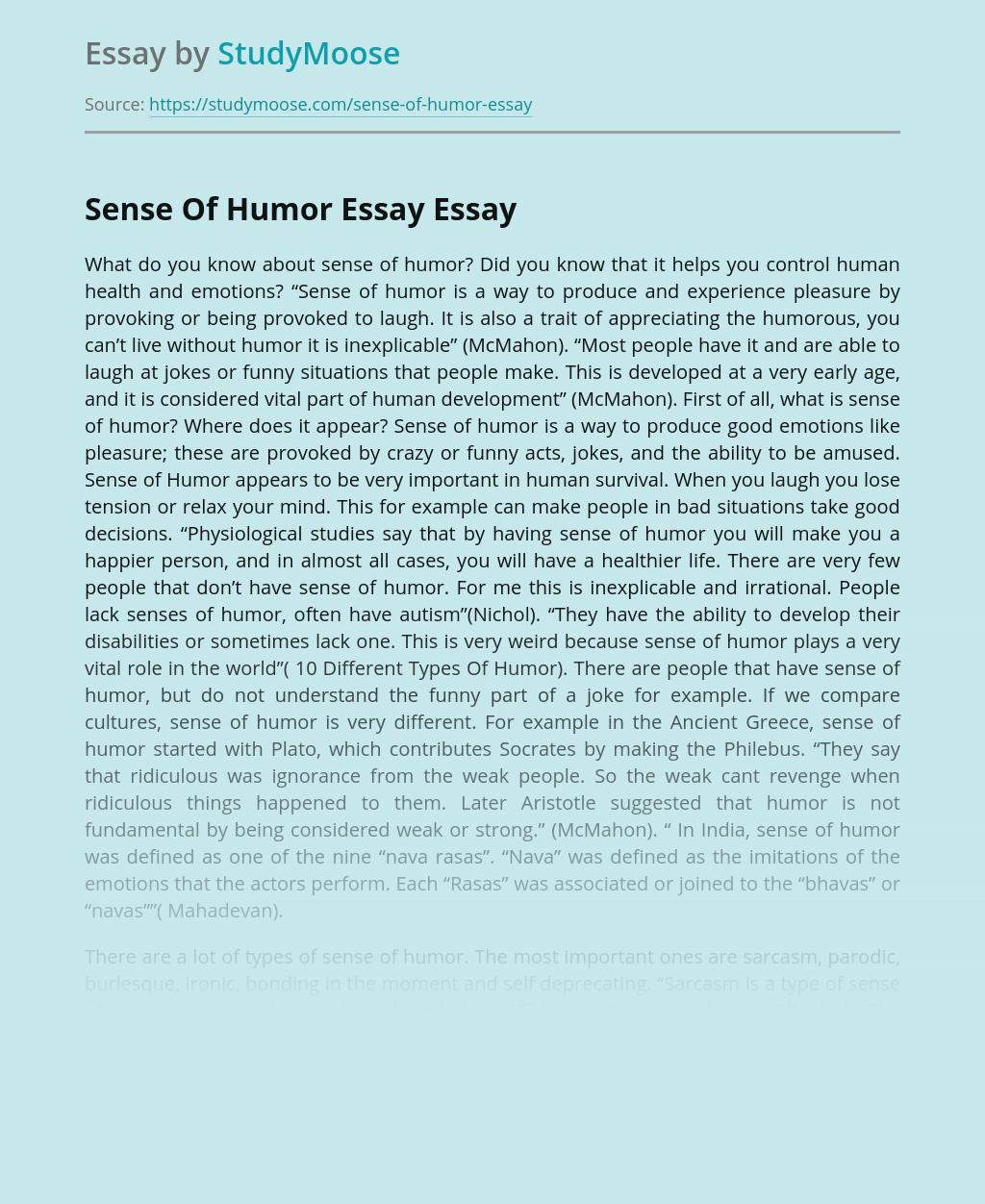 essay on sense of humor