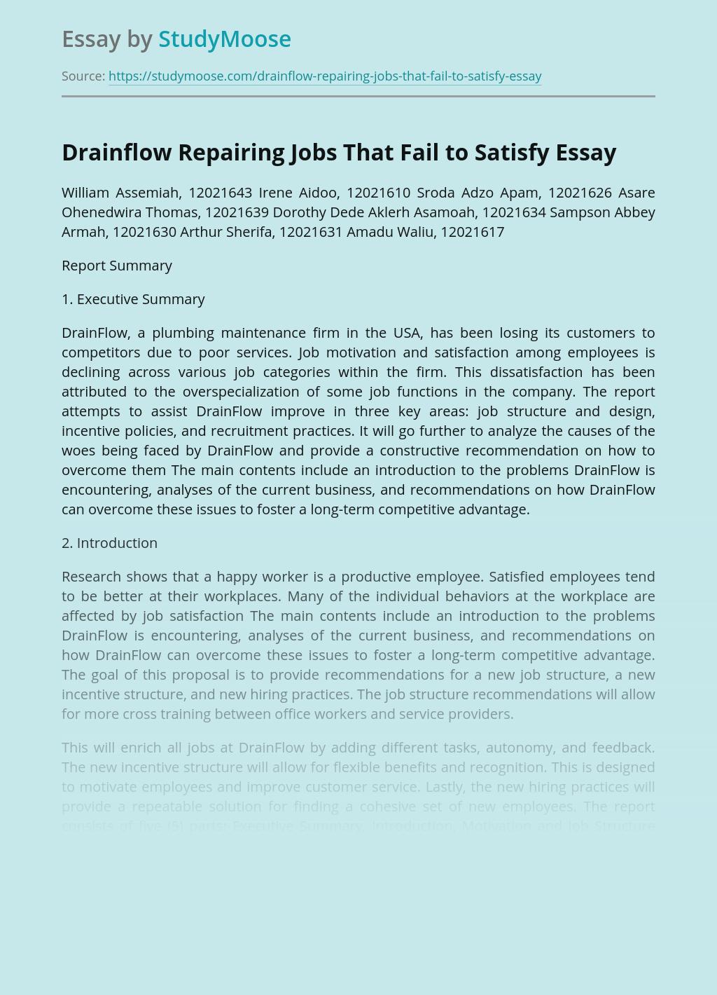 Drainflow Repairing Jobs That Fail to Satisfy