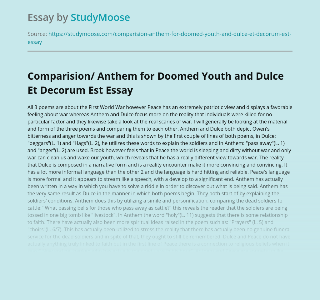 Anthem for Doomed Youth and Dulce Et Decorum Est