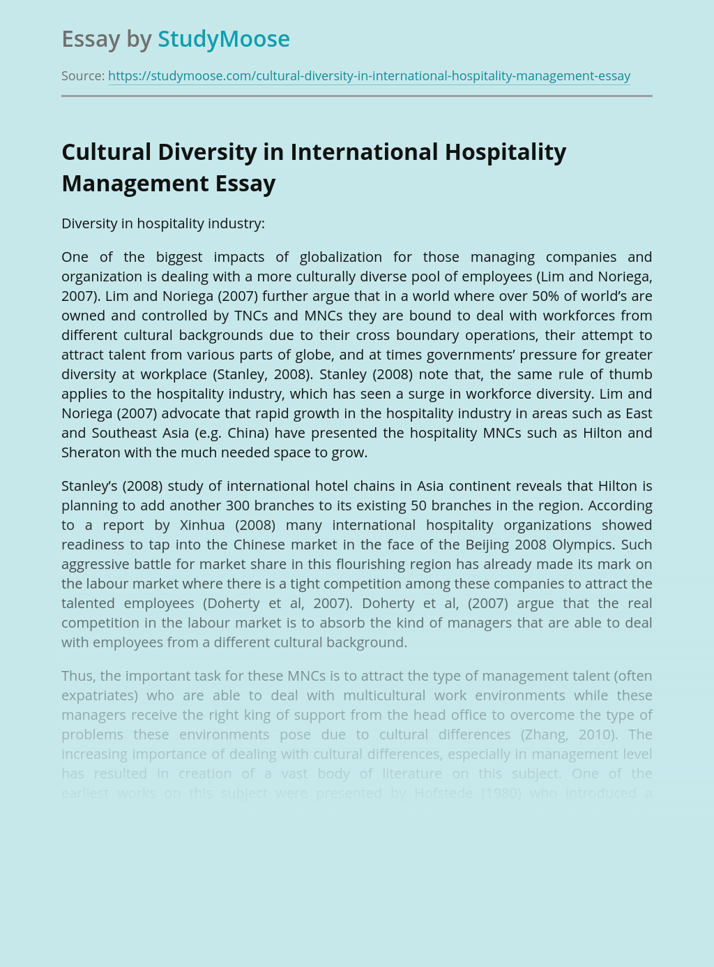 Cultural Diversity in International Hospitality Management