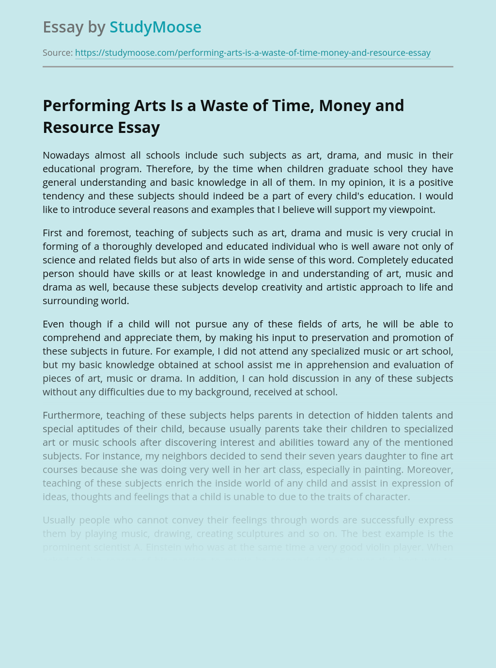 Performing Arts Is a Waste of Time, Money and Resource