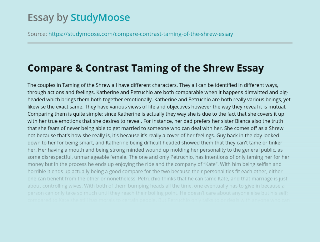 Compare & Contrast Taming of the Shrew