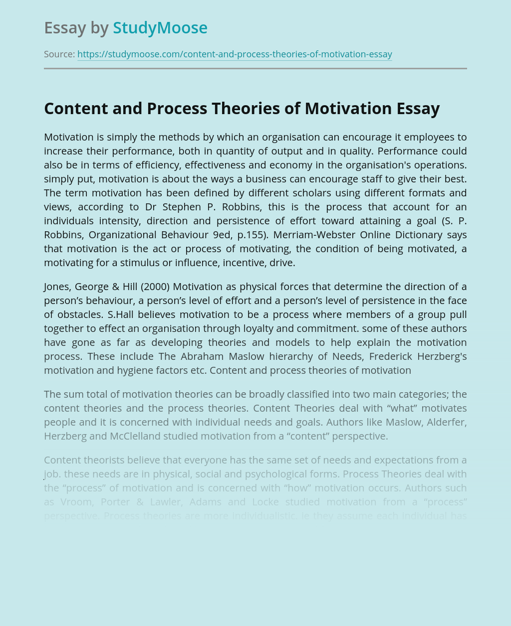 Developing theories and models in motivation process