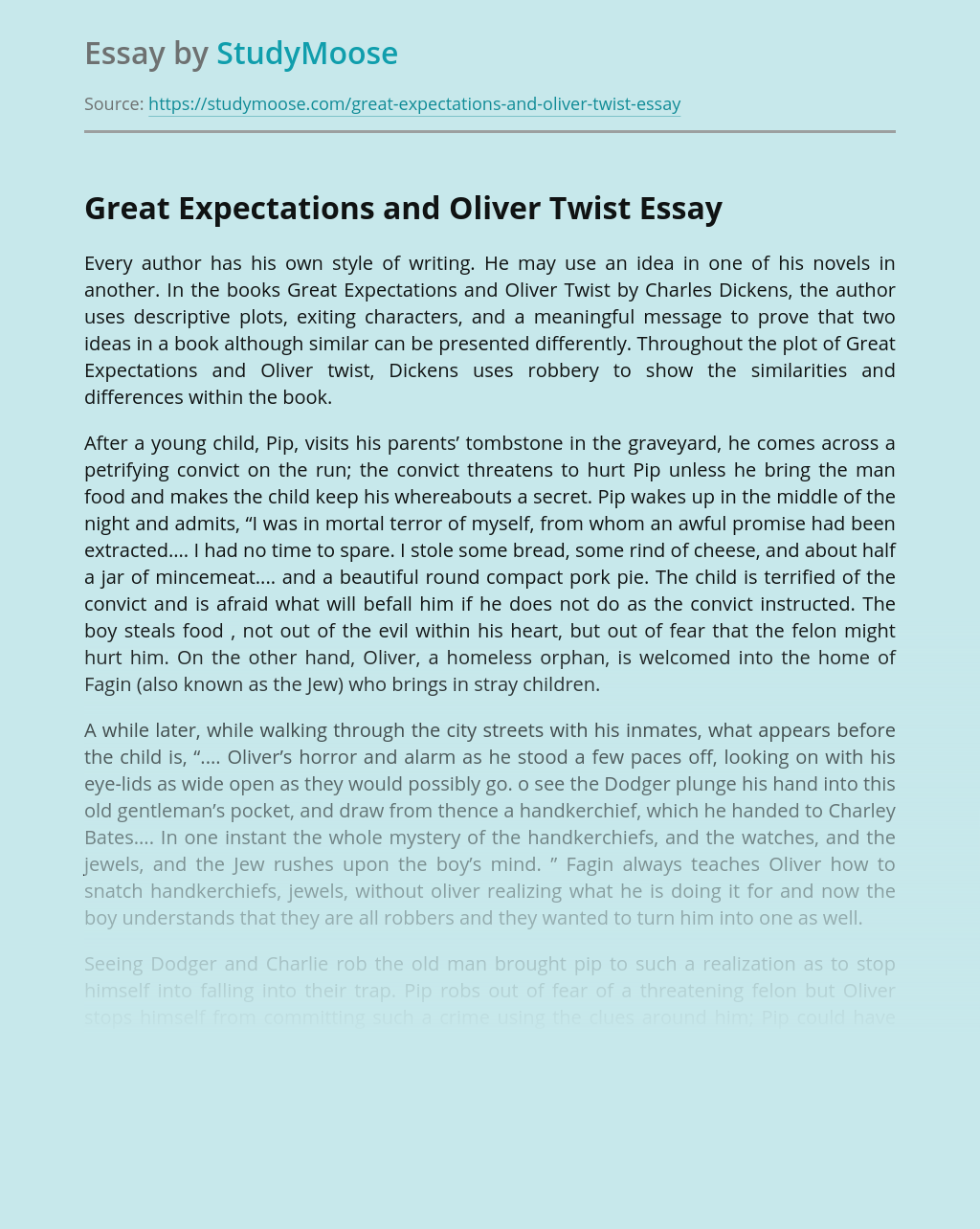 Great Expectations and Oliver Twist