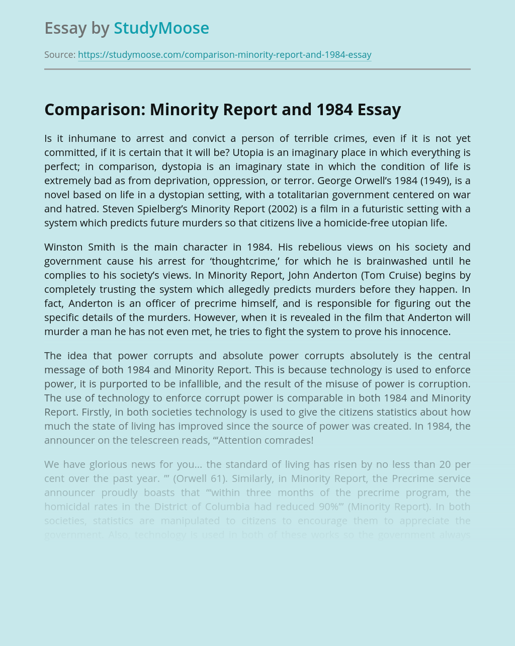 Comparison: Minority Report and 1984