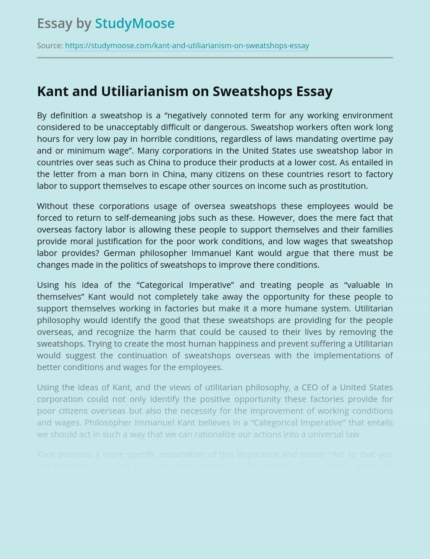 Kant and Utiliarianism on Sweatshops