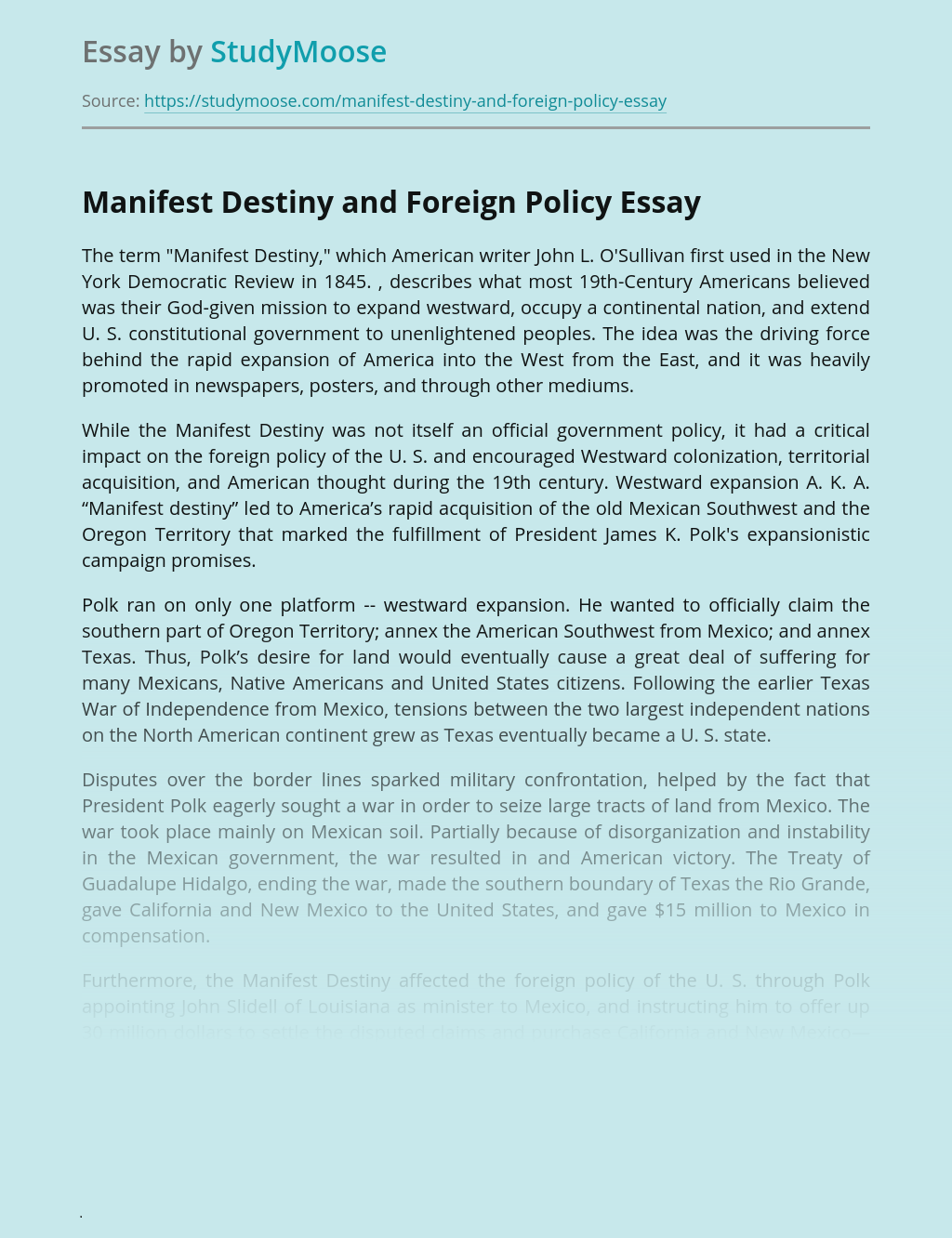 Manifest Destiny and Foreign Policy