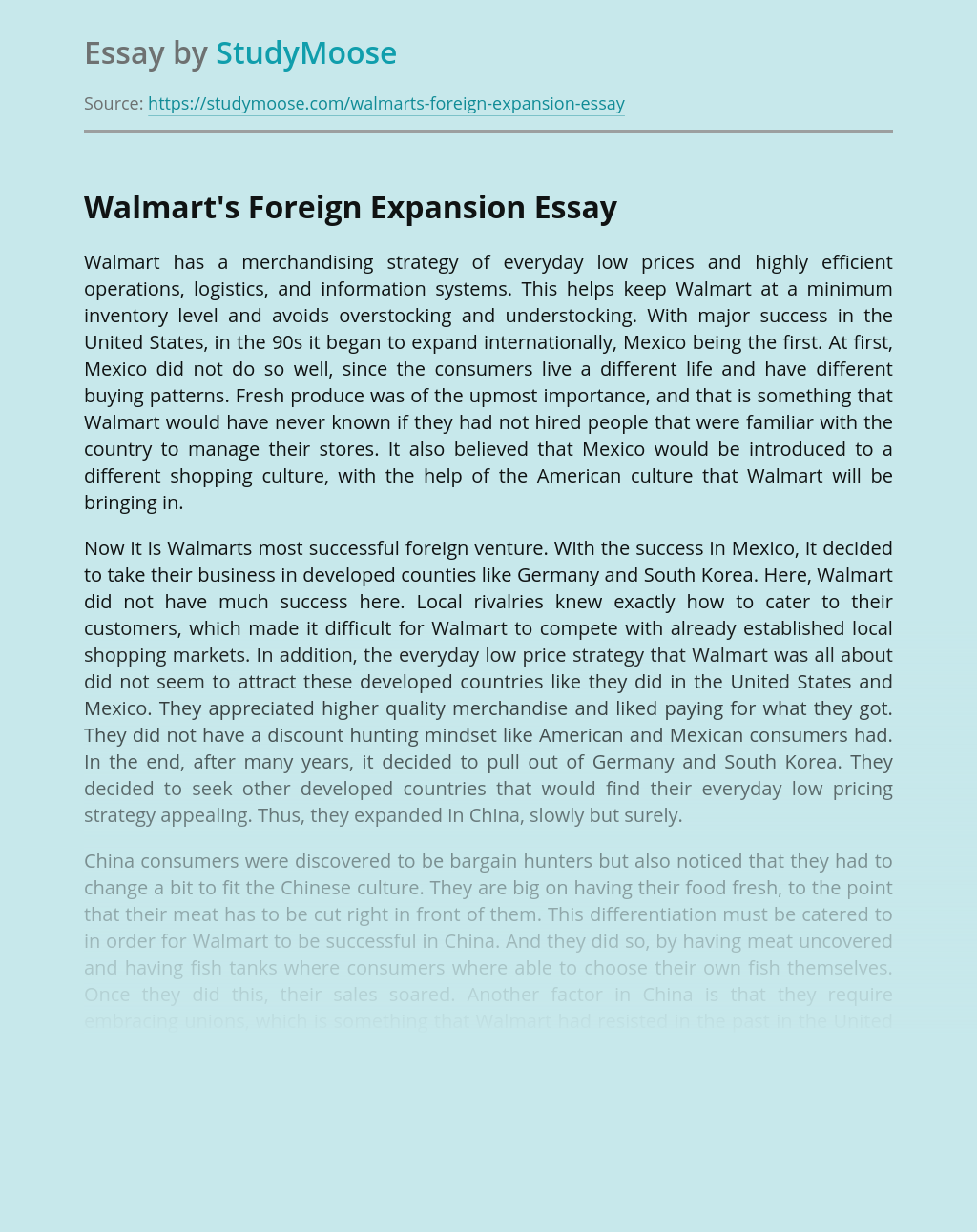 Walmart's Foreign Expansion