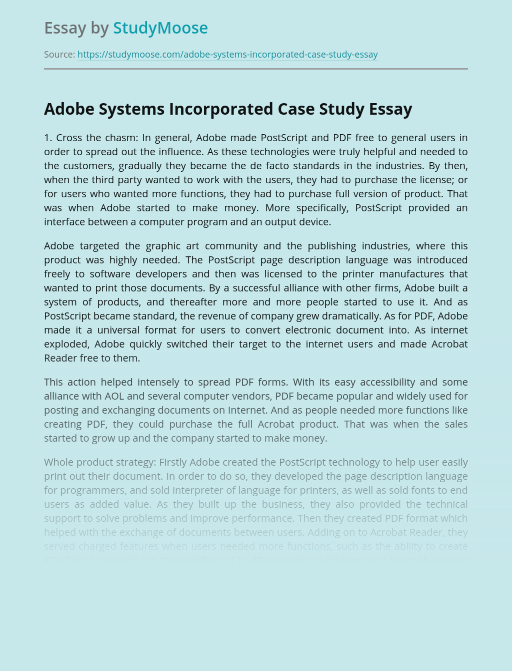 Adobe Systems Incorporated Case Study