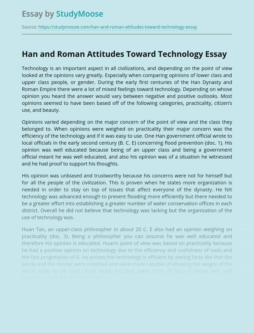 Han and Roman Attitudes Toward Technology