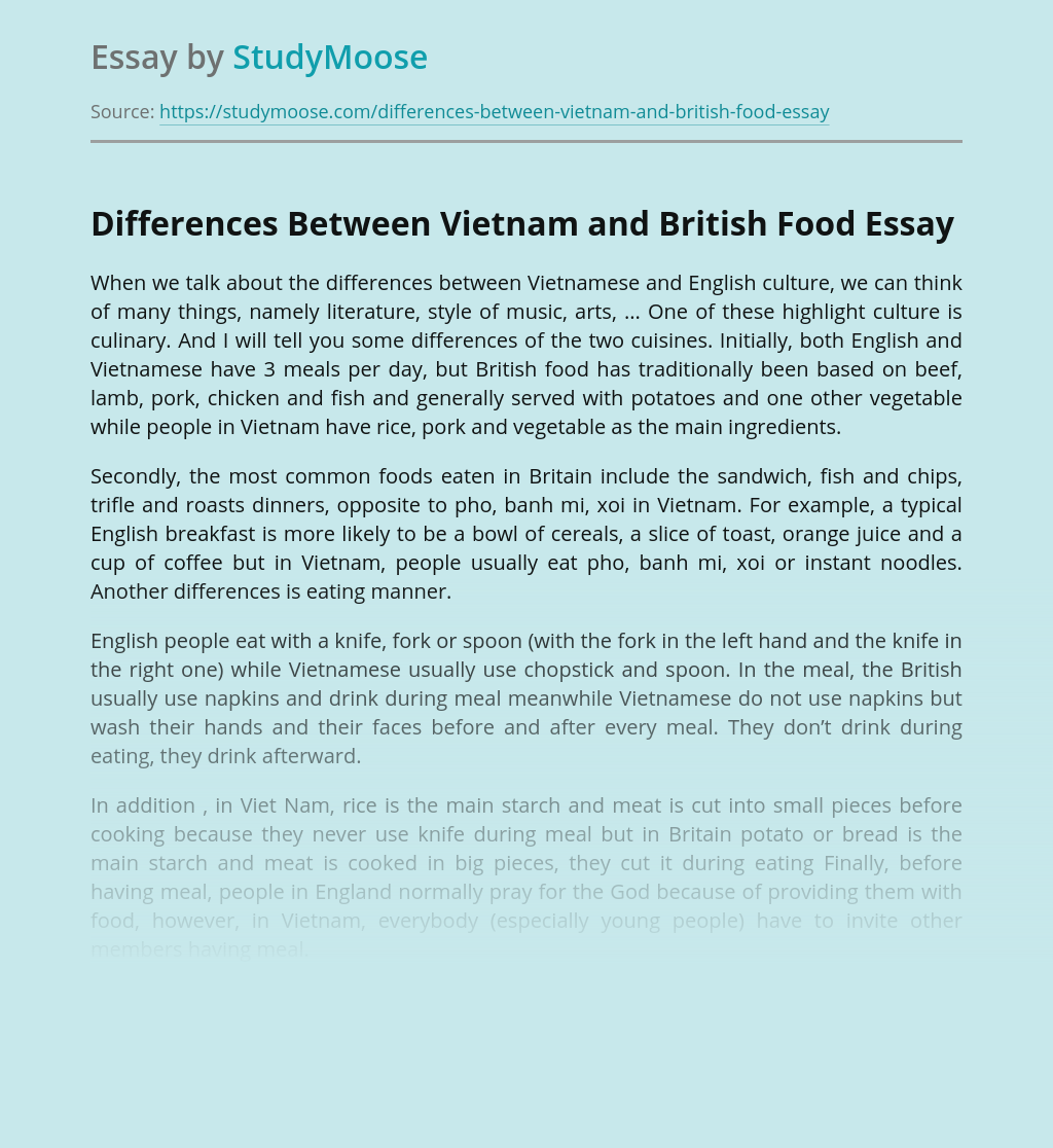 Differences Between Vietnam and British Food