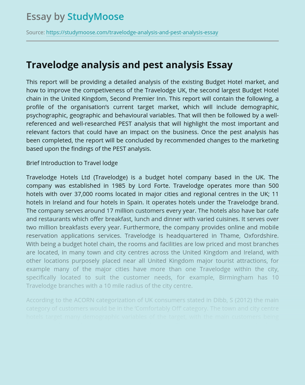 Travelodge Company PEST Analysis