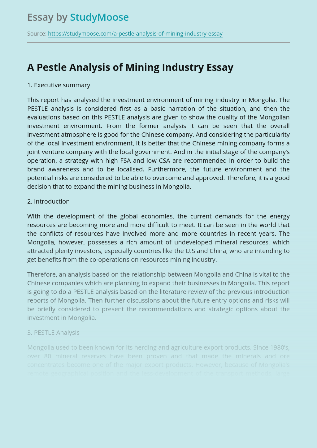 A Pestle Analysis of Mining Industry