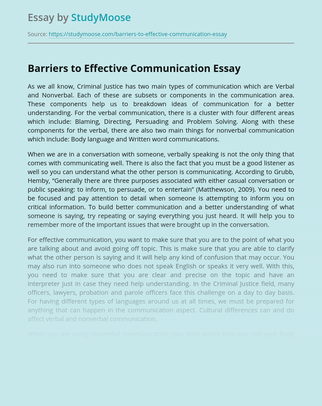 Barriers to Effective Verbal and Nonverbal Communication