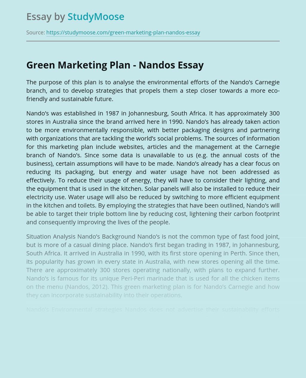 Green Marketing Plan - Nandos
