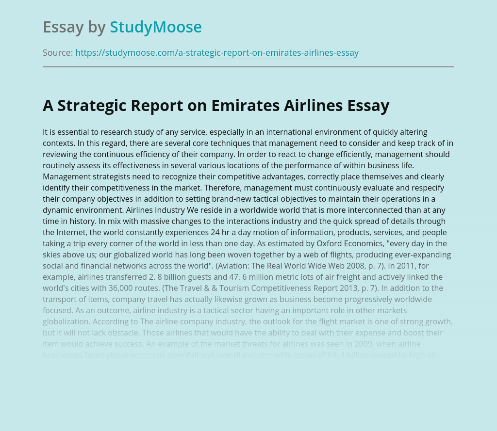 A Strategic Report on Emirates Airlines Business Management