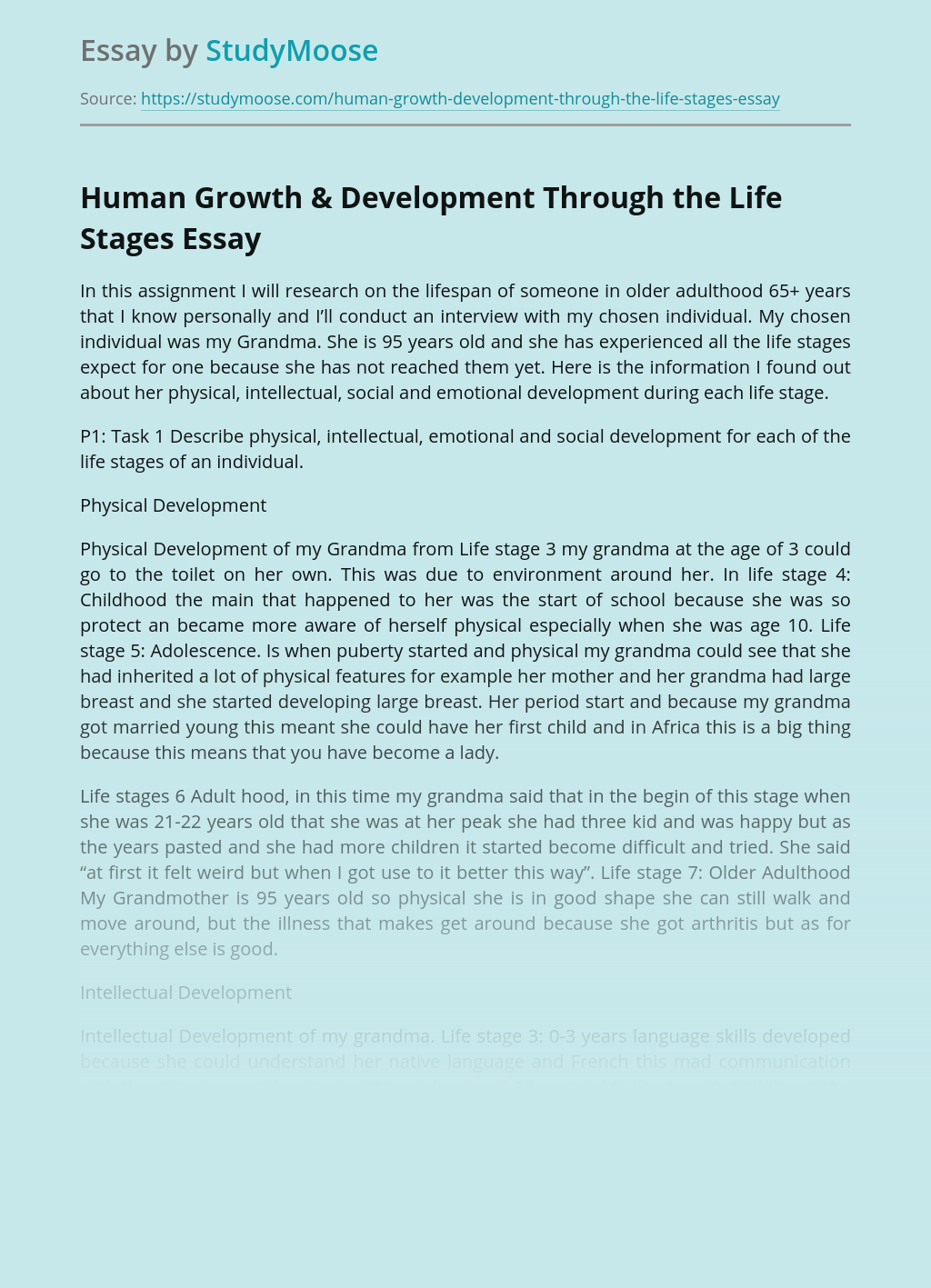 Human Growth & Development Through the Life Stages