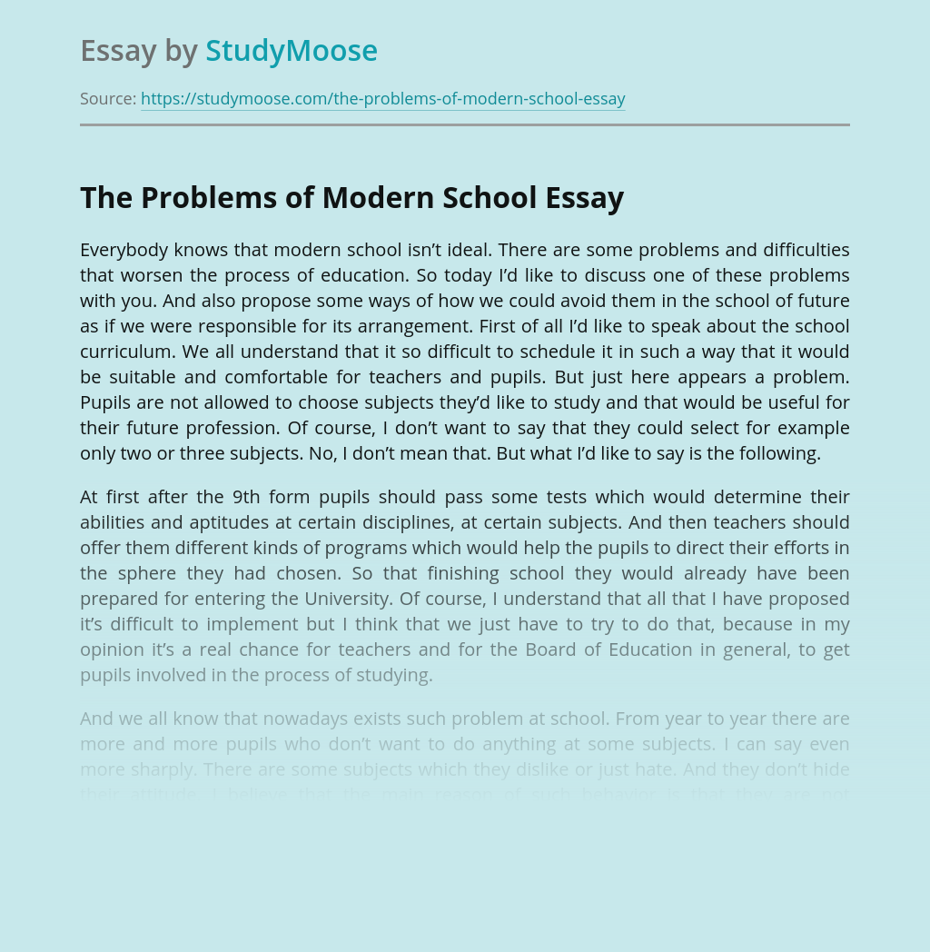 The Problems of Modern School