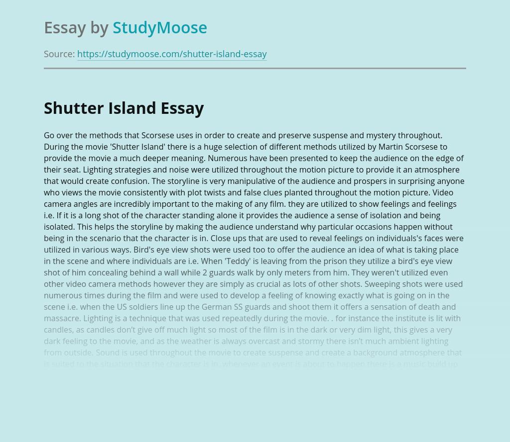 Cinematography of Film Shutter Island