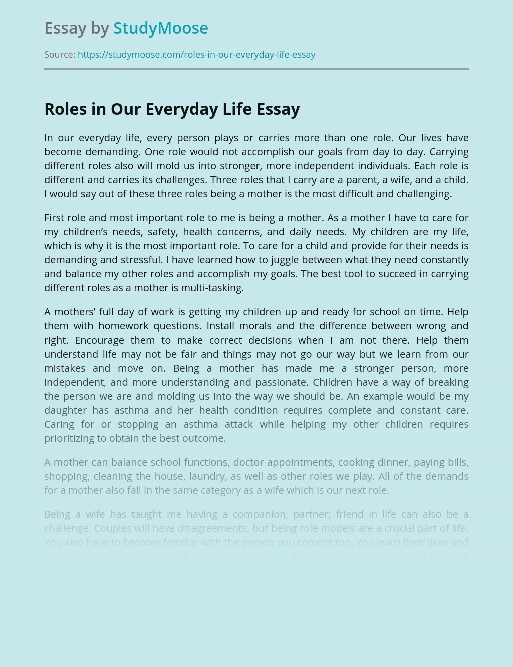Roles in Our Everyday Life