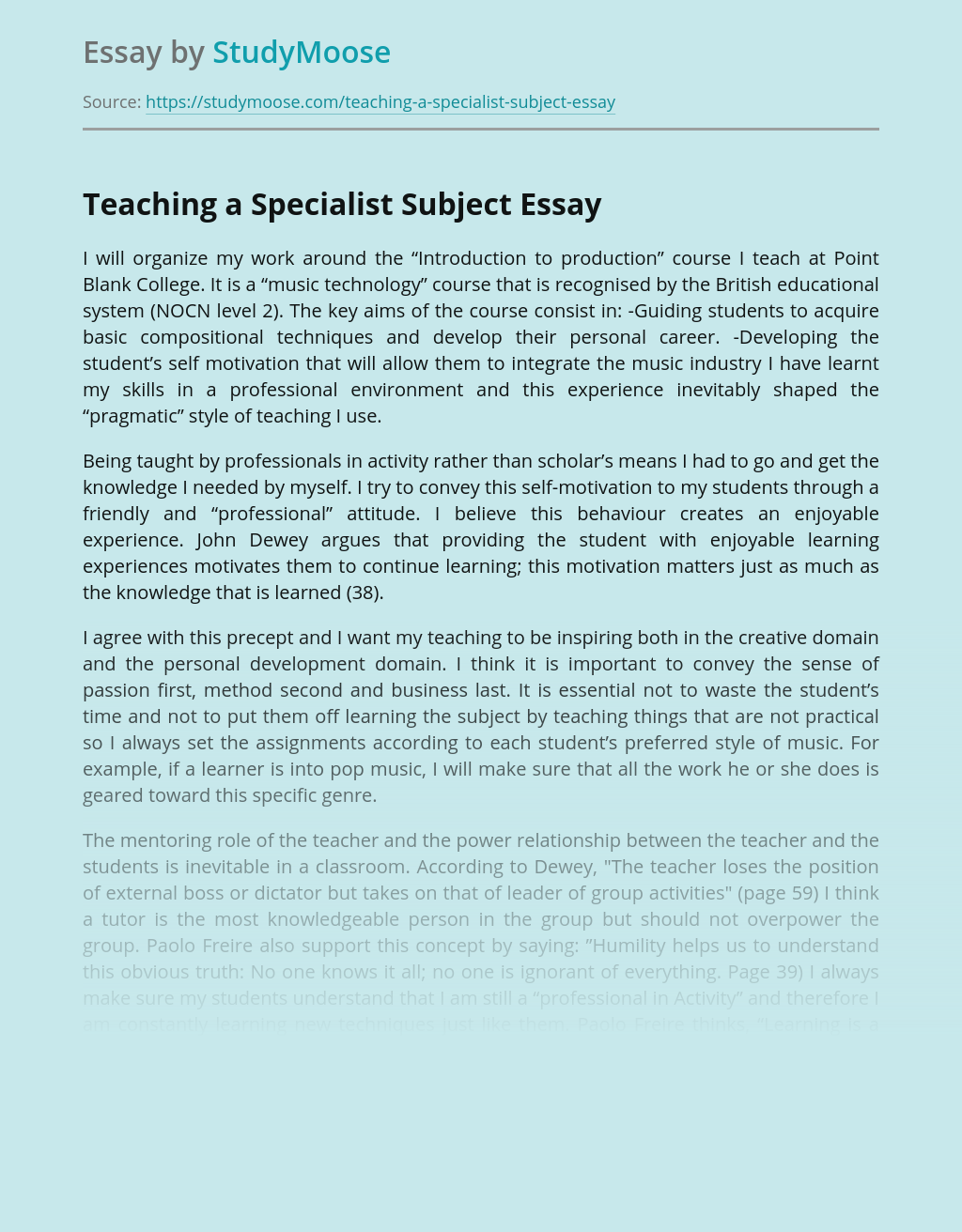 Teaching a Specialist Subject