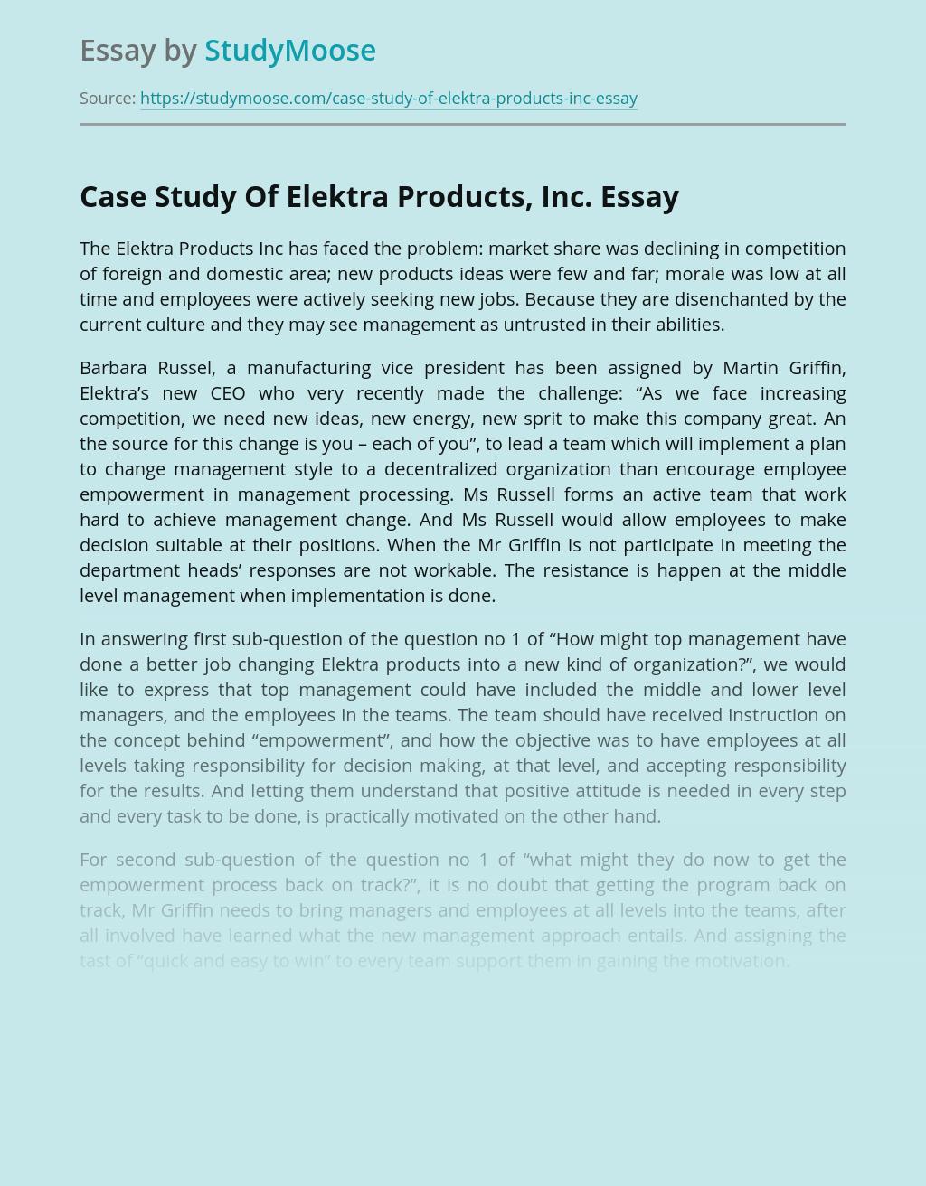 Case Study Of Elektra Products, Inc.